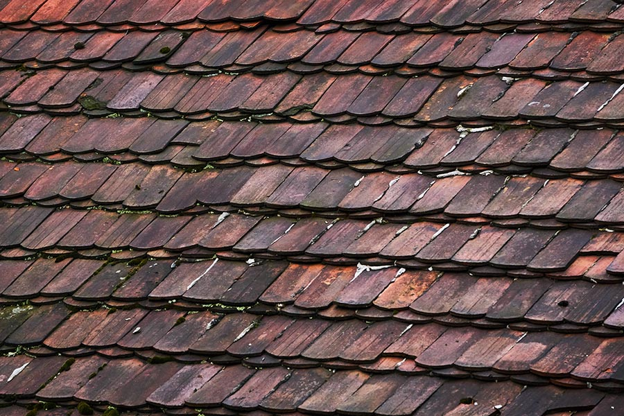 aging roof tiles